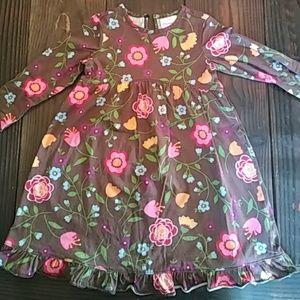 Hanna Andersson brown floral knit dress size 100